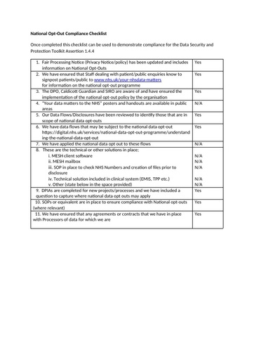 National data opt out checklist