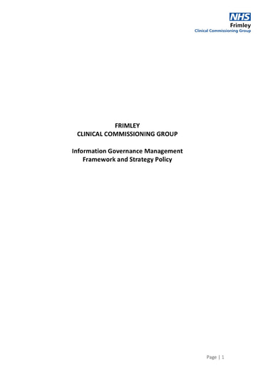 Information Governance Management Framework and Strategy Policy