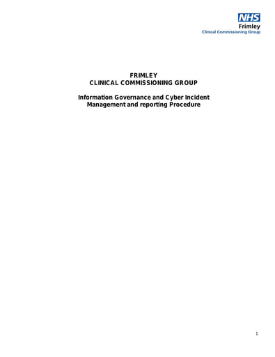 Information Governance and Cyber Incident Management and reporting Procedure