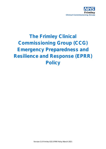 Emergency Preparedness Resilience and Response Framework Policy